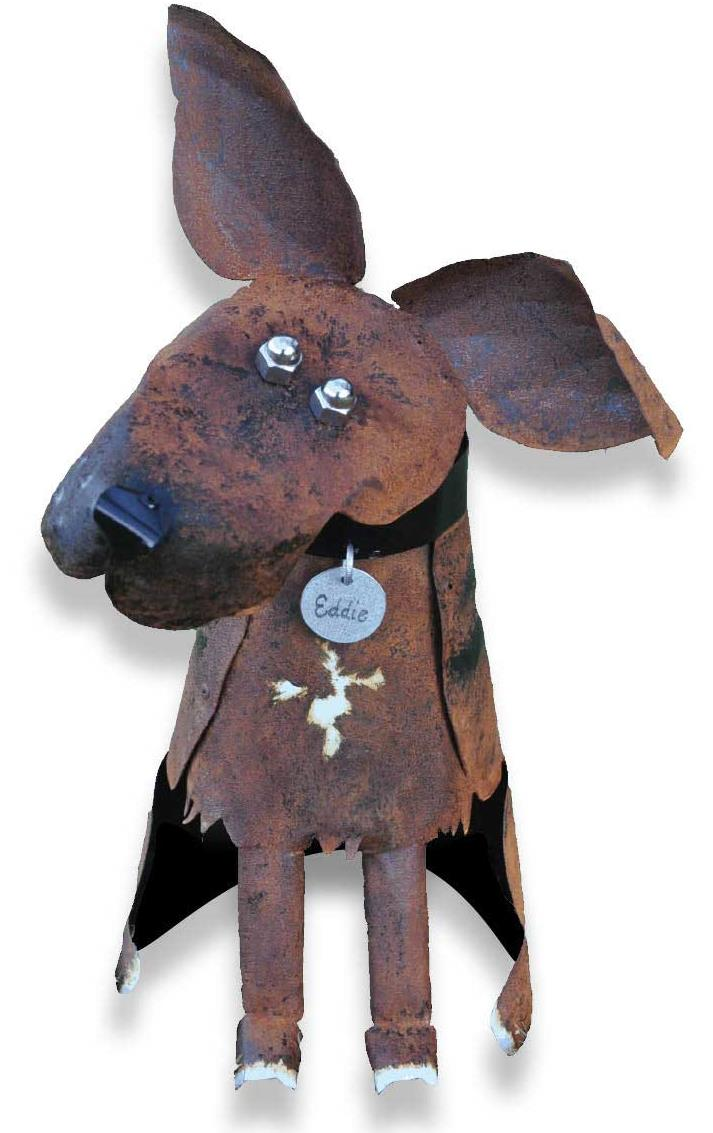 Eddie the steel dog sculpture