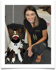Dr Katrina Warren with her Toby the Wonderdog Dog Sculpture